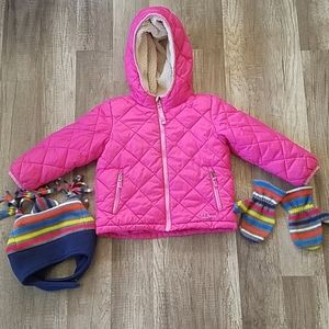 LL Bean 2T Pink Sherpa Lined Jacket & Hat & Gloves